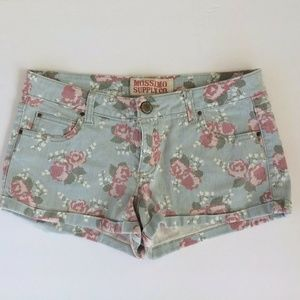 Mossimo Blue Pink Floral Mini Shorts Junior 9